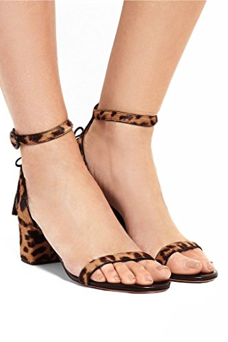 Chunky Ladies High Ankle Platform Womens Toe Buckle AIWEIYi Heel Shoes Open Dress Shoes Sandals Leopard H5qZx1Aw