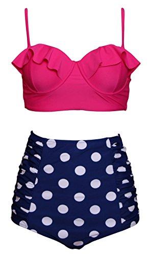 Women Bathing Suits Two Piece High Waisted Polka Dots Underwire Ruffle Bikini-PINK1, Small