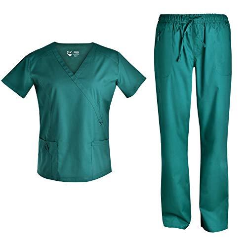 Pandamed Women Scrubs Set Medical Scrubs Stretch Scrubs Mock Wrap Scrubs top Scrubs Pants Multiple Pockets TCS3101 (Hunter, M)