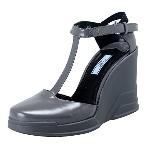 (Prada Gray Leather Ankle Wedges T-Strap Sandals Shoes US 9 IT 39;)