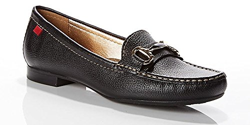 Marc Joseph NY Women's Fashion Shoes Grand Street Black Grainy Buckle Loafer (Grainy Leather)
