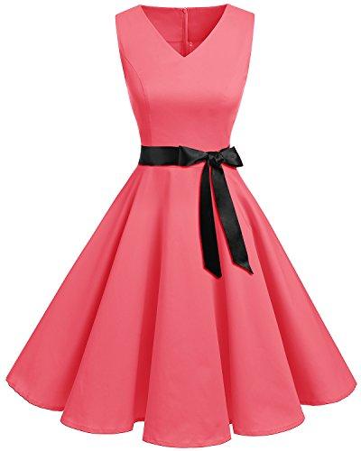 Bridesmay Women's V-Neck Audrey Hepburn 50s Vintage Elegant Floral Rockabilly Swing Cocktail Party Dress Coral L (Dress Coral 1950s)