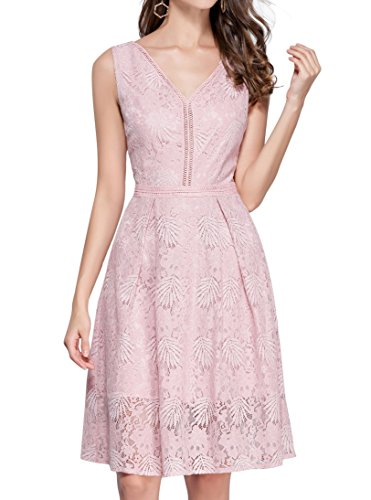 VEIIASR Women's Vogue Lace V-Neck Chic Cocktail Party Sleeveless Dress (Small, Pink)