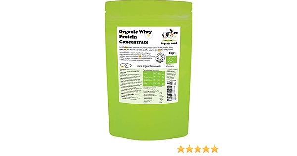 Proteina Organica Polvo 1kg de Suero de Leche Bio Neutro sin Sabor sin Gluten sin Soja Whey Protein Concentrate Powder Organic Daisy 1000g