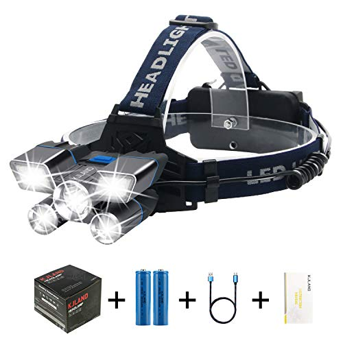 LED Headlamp Rechargeable, KJland Brightest High 12000 Lumen Hard Hat HeadLight, Waterproof Work Flashlight with 9 Modes and Battery Capacity Indicator Light, Head lamp for Camping Hunting Outdoors