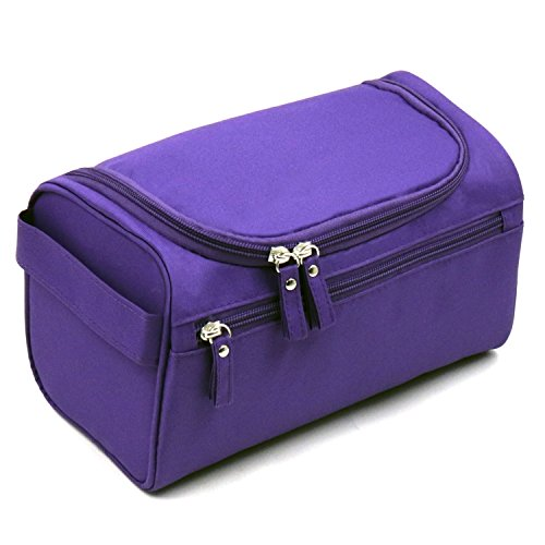 Price comparison product image Travel Toiletry Bag Waterproof Zip Organizer Hanging Cosmetic Makeup Shower Bag With Large Compartment for Men Women for Trip Vacation Gym (Purple)