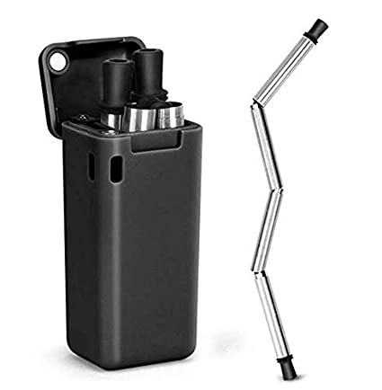 CHARMINER Collapsible Straw Reusable Stainless Steel, Folding Drinking  Straws Food-Grade Portable Set Stainless Steel Case with Cleaning Brush