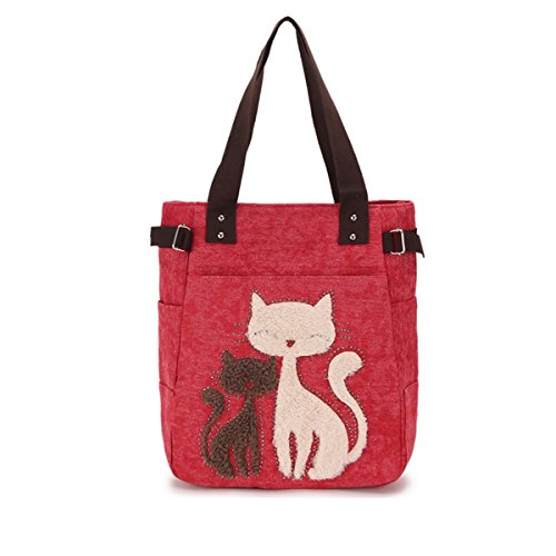 Color Mignon Sac YUN Forage Flanelle Hot à Multicolore Chat Unique épaule Portable Toile Vert GIRL Sac Rouge MY Khaki Provisions Toile fgnqSU