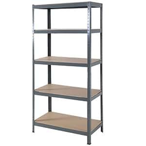 "72"" Heavy Duty Steel 5 Level Garage Shelf Metal Storage ..."