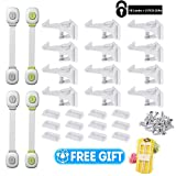 Cabinet Locks Baby & Child Safety Kit, 12 Invisible Design Cabinet Drawer Locks with Adhesive, 4 Baby Safety Cabinet strap Locks, Free Gift - 2 U Shaped Sliding Locks, No Tools Key or Drilling Require