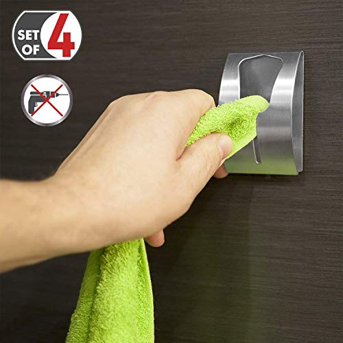 Tatkraft Ida Strong Adhesive Towel Rack (Value Pack 4 Pcs) Up to 5 kg Stainless ()
