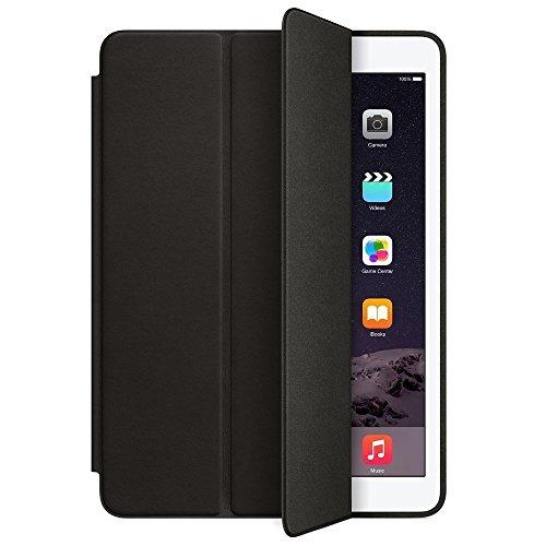 Finaux Leather Smart Case Foldable Flip Cover with Auto Sleep/Wake for Apple Ipad Mini 2/3   Black
