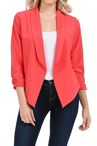 Auliné Collection Womens Casual Lightweight 3/4 Sleeve Fitted Open Blazer Coral Medium (Collection Coral)