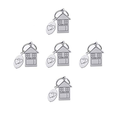 (ANGROC 5PCS Folding Metal House Shaped USB 2.0 8GB USB Flash Drive Memory Stick Fold Storage Stick Pen(Pack of 5, Silver))