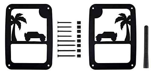 Tail Light Covers and Stubby Antenna by VroomTec | Rear Side Lamp Protector Covers For Jeep Wrangler JK and JKU | Made Of Durable Aluminum | With Black Powder Coat Finish (Jeep On A Beach - Stubby)