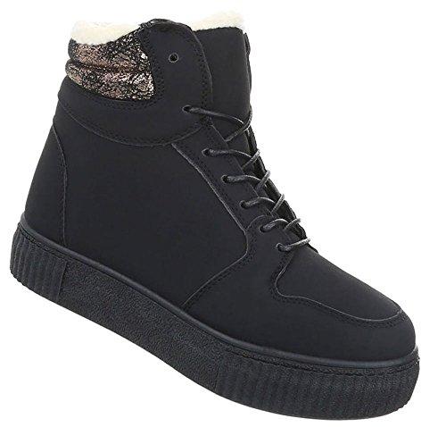 Schuhcity24 Damen Schuhe Freizeitschuhe Gefütterte Sneakers Schwarz