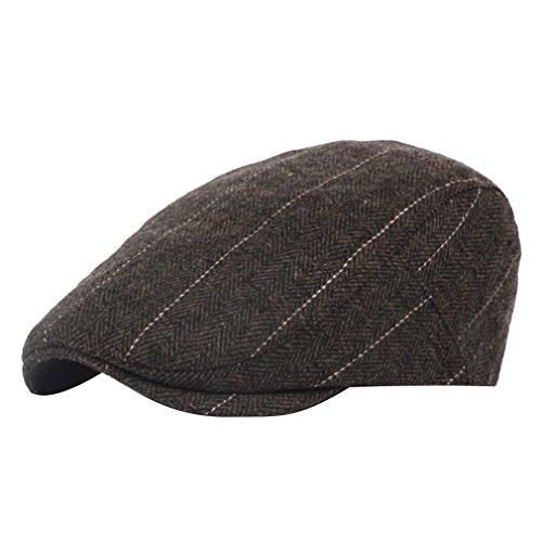 plana colores Gorra Hombre Acvip Hombre o 3 Ajustable Caf Lana invierno Sombrero de Raya oto qwAaFOUXX