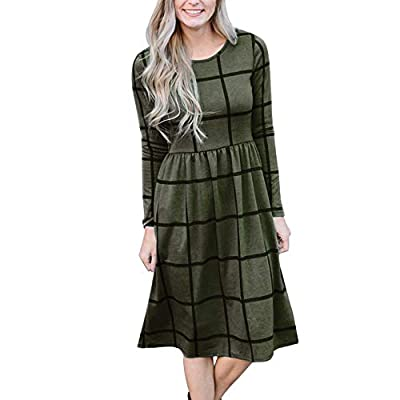 Primoda Women's Long Sleeve Grid Tunic Midi Dress Casual Empire Waist Knee Length Dresses with Pockets
