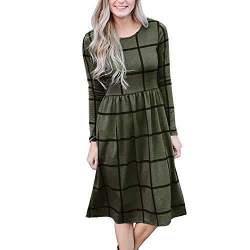 Primoda Women's Long Sleeve Grid Tunic Midi Dress Casual Empire Waist Knee Length Dresses with Pockets(Army Green,S)