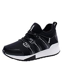 KUIBU Women Lightweight Sport Breathable Slip-On Platform Toning Shoes PU High Heel Sneaker