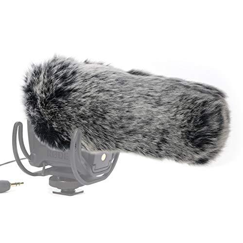 SUNMON Microphone Furry Windscreen, Dead Cat Wind Muff Mic Windshield Fur Foam Cover as Pop Filter Compatible with Rode VideoMic Pro Camera Microphone ()