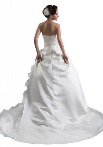 Tribunal Robe De Bal De Femmes Dearta Bretelles Train Robes De Mariée Charmeuse Blanc