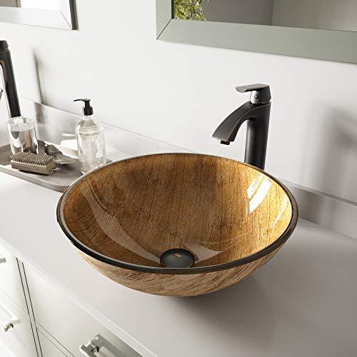 VIGO Amber Sunset Glass Vessel Bathroom Sink and Linus Vessel Faucet with Pop Up, Antique Rubbed Bronze (Golden Sunset Glass Vessel)