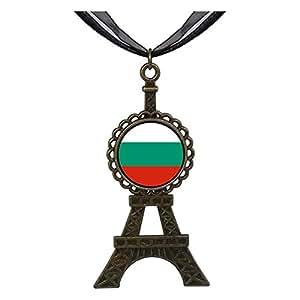 Chicforest Bronze Retro Style Bulgaria flag Eiffel Pendant