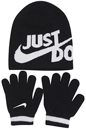 Nike Boy's Just Do It 2-Piece Black Beanie Hat & Gloves Set Sz: 4/7