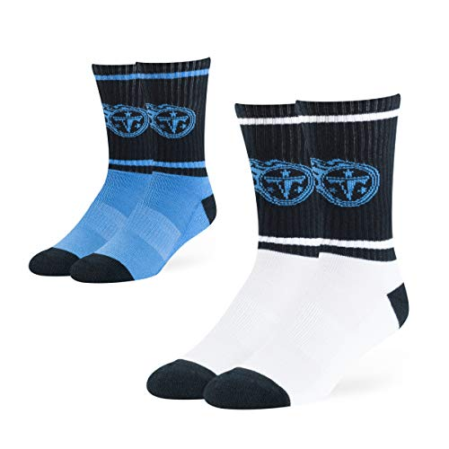 OTS NFL Adult Men's Dasher Sport Sock 2-Pack Tennessee Titans, Large, Team Color