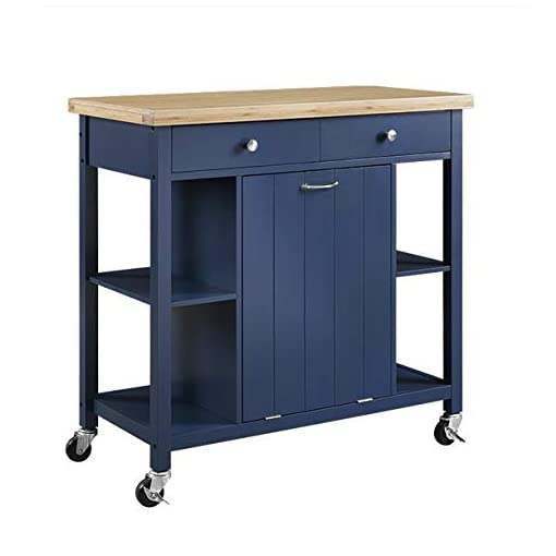 Kitchen Almeris Lux Blue Kitchen Island Cart Wheels Bamboo Top Storage Cabinet Drawers Rolling Utility Shelf Furniture Table… modern kitchen islands and carts