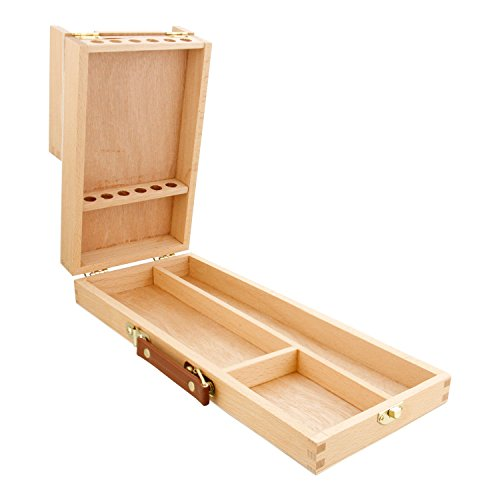 US Art Supply Wooden Flip Opening Artist Brush & Tool Box (Brush Box Wooden)