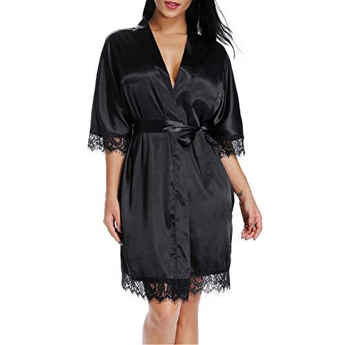 Cnokzol Women Sexy Silk Sleepwear Satin Lace Trim Nightwear Short Kimono Robe(M,Black 30) Black Lace Trim Short