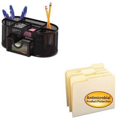 KITROL1746466SMD10338 - Value Kit - Smead Antimicrobial One-Ply File Folders (SMD10338) and Rolodex Mesh Pencil Cup Organizer (1 Ply Mesh)