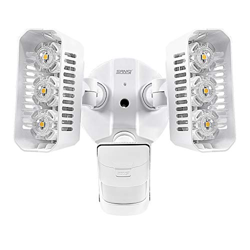 SANSI LED Security Lights, 27W (200Watt Incandescent Equiv.) Motion Sensor Lights, 2700lm 5000K Daylight Waterproof Outdoor Floodlights with Adjustable Dual-Head, White For Sale