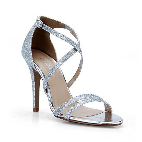Voir nouvelles talon femme sangle la les Silver de haut Sands banquet de femmes chaussures sandales l'élégance xraqrn