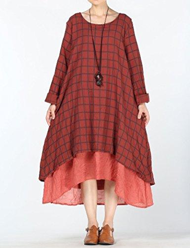 Vestido de la Mujer Vogstyle Con el Patrón de Múltiples Capas Estilo-1 Rojo Oscuro