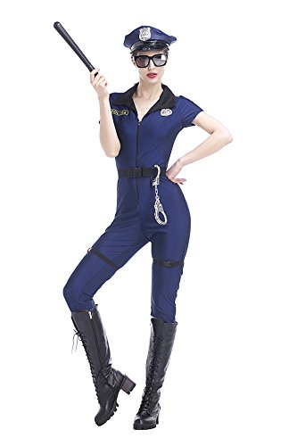 Zongsi Women Sexy Policewoman Costume Blue Halloween Cosplay Costume Police Outfits Overall Jumpsuit(XL)