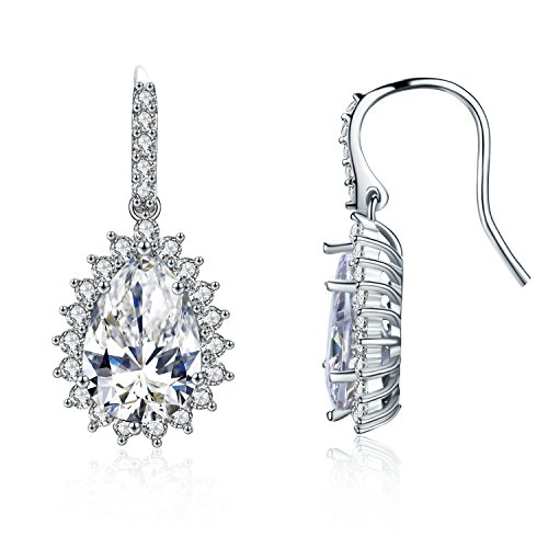 SBLING Platinum-Plated AAAA Cubic Zirconia Halo Teardrop Earrings (4 cttw;White Clear) ()