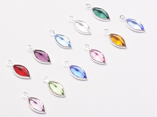 12pc Set of Genuine SWAROVSKI 14mm Tall Marquis Birthstone Channel Charms Silver Plated