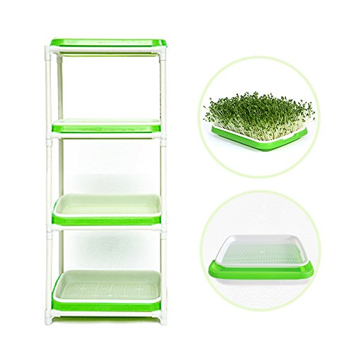 4 Layers Sprout Trays with Extra Strength Plastic Shelf Soil-Free Healthy Wheatgrass Seeds Grower & Storage Trays for Garden Home by LeJoy