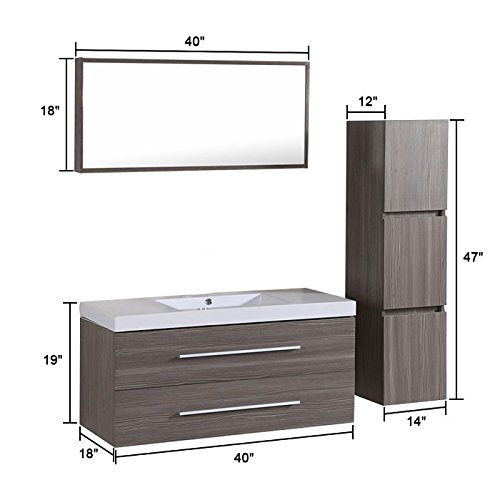 Decoraport 40 In. Wall Mount Bathroom Vanity Set with Single Sink and Mirror (A-T5167A) by Decoraport (Image #5)