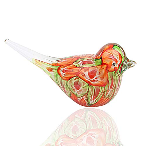 Hophen Colorful Art Glass Bird Figurine Paper Wight Handmade Home Ornament Mother`s Day Gift (Orange)