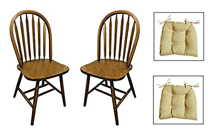 Set Of 2   Arrow Back Dark Oak Stained Kitchen Dining Chairs With Chair Pads