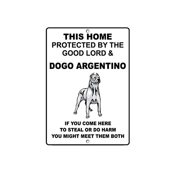 """DOGO Argentino Dog Home Protected by Good Lord and Novelty SignVinyl Sticker Decal 8"""" 1"""