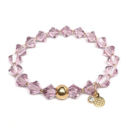 Purple Bracelets Swarovski (TFS Jewelry June Birthstone Color, Light Purple Swarovski Crystal 'Rachel' Stretch Bracelet)