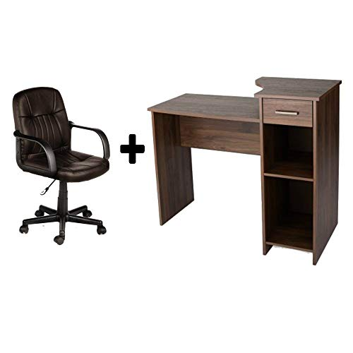 Student/Office Home Desk in Canyon Walnut + Leather Mid-Back Chair in Brown - Bundle Set