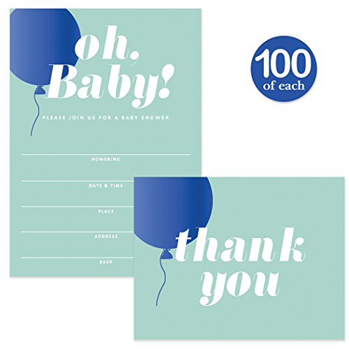 Baby Shower Invitations ( 100 ) & Thank You Cards ( 100 ) Matched Set with Envelopes Cute Blue Boy Design Large Party Mom-to-Be Son Male Gender Fill-In Invites & Folded Thank You Notes Best Value Pair by Digibuddha