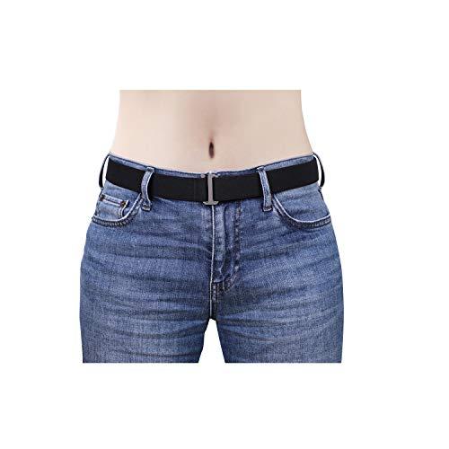 No Show Women Belts SANSTHS Invisible Elastic Stretch Belt with Flat Buckle for Jeans Pants Dresses, Black M