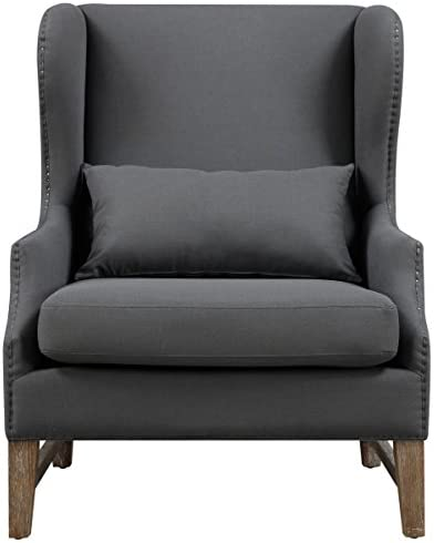 Tov Furniture The Devon Collection Modern Linen Fabric Upholstered Wood Living Room Accent Wing Chair